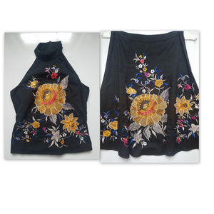 French connection embroidered top & skirt EUC 4